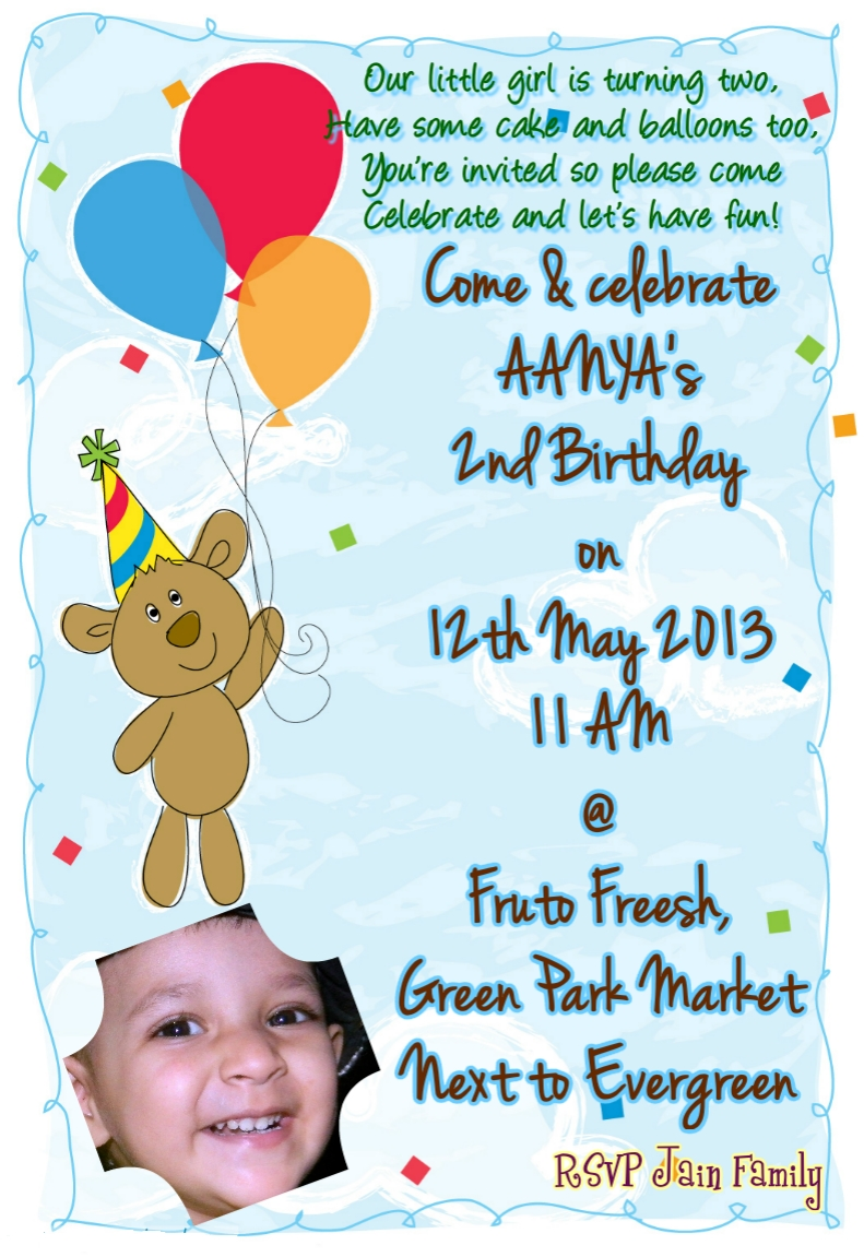 My 2nd Birthday Invitation Card